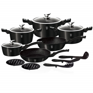 Набор посуды 15 предметов Berlinger Haus Metallic Line Carbon Edition BH-1664N