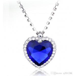 Кулон Сердце голубое со стразами Crystal jewelry 45см