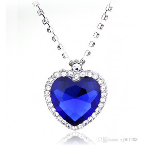 Кулон Сердце голубое со стразами Crystal jewelry 50см
