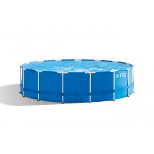 Каркасный бассейн Intex Metal Frame 457x122 см + фильтр-насос 3785 л/ч, лестница, тент, подстилка (28242)