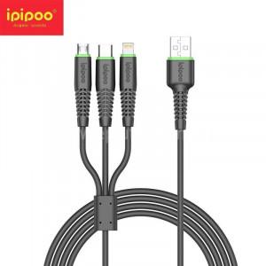 Кабель Micro USB + Type-C+ Lightning Ipipoo KP-26