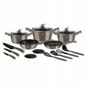 Набор посуды 17 предметов Berlinger Haus Metallic Line Carbon Edition BH-6163