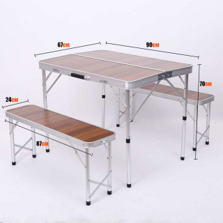 Складной стол со скамейками из бамбука CH 007A-90 Mimir Outdoor