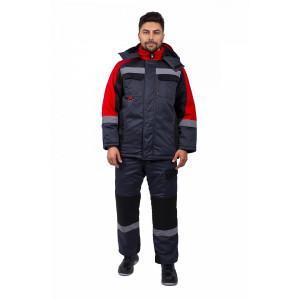 Костюм зимний Фаворит-Мега п/к, черный/красный/серый 87472322