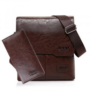 Кожаная сумка + портмоне (цвет: черный / коричневый) Jeep Buluo