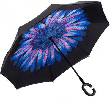 Зонт наоборот (Голубой цветок) UPBRELLA #0