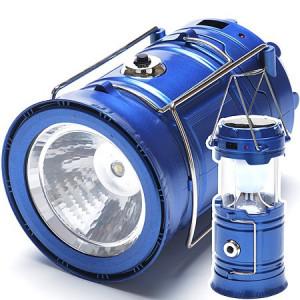 Светодиодный кемпинговый фонарь с солнечной батареей синий