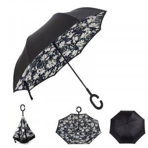 Зонт наоборот (Белые цветы) UPBRELLA