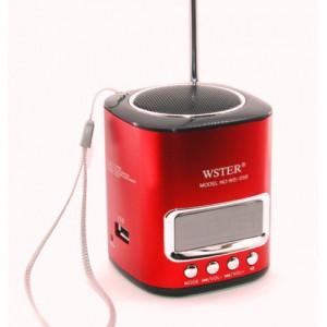 Портативная стерео аудио колонка WSTER с MP3  и FM тюнером WS-259 Red