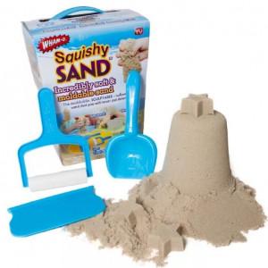 Кинетический песок Squishy Sand 1 кг + 3 формы