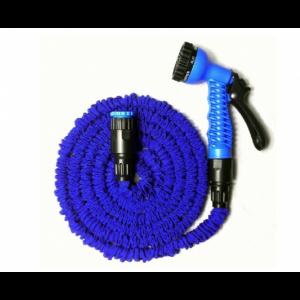 Растягивающийся садовый шланг с насадкой-распылителем Magic hose 75 метров (Синий)
