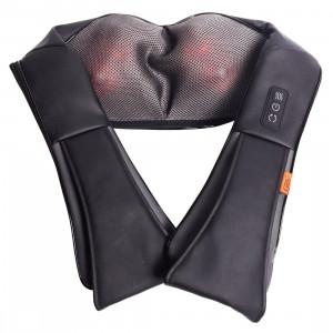Массажер для шеи и плеч Kragen, домашний массажер, 3D массаж, прогрев, автомобильный адаптер, смена направления вращения роликов, GESS